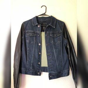 Calvin Klein Denim Jacket w/ Faux Leather Sleeves